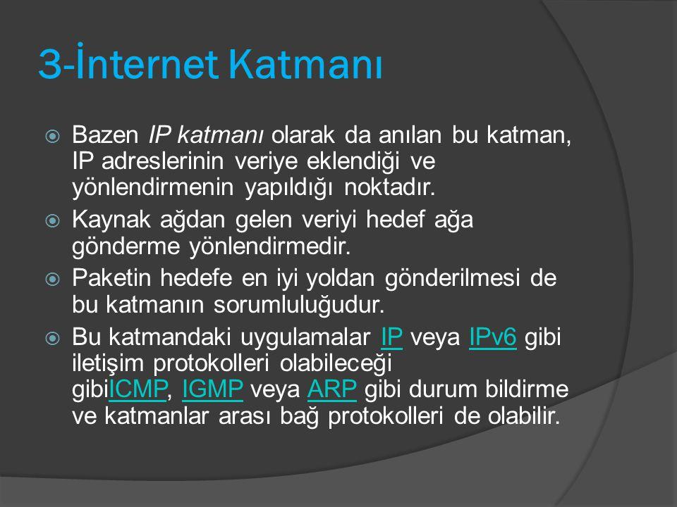 3-İnternet Katmanı  Bazen IP katmanı olarak da anılan bu katman, IP adreslerinin veriye eklendiği ve yönlendirmenin yapıldığı noktadır.  Kaynak ağda