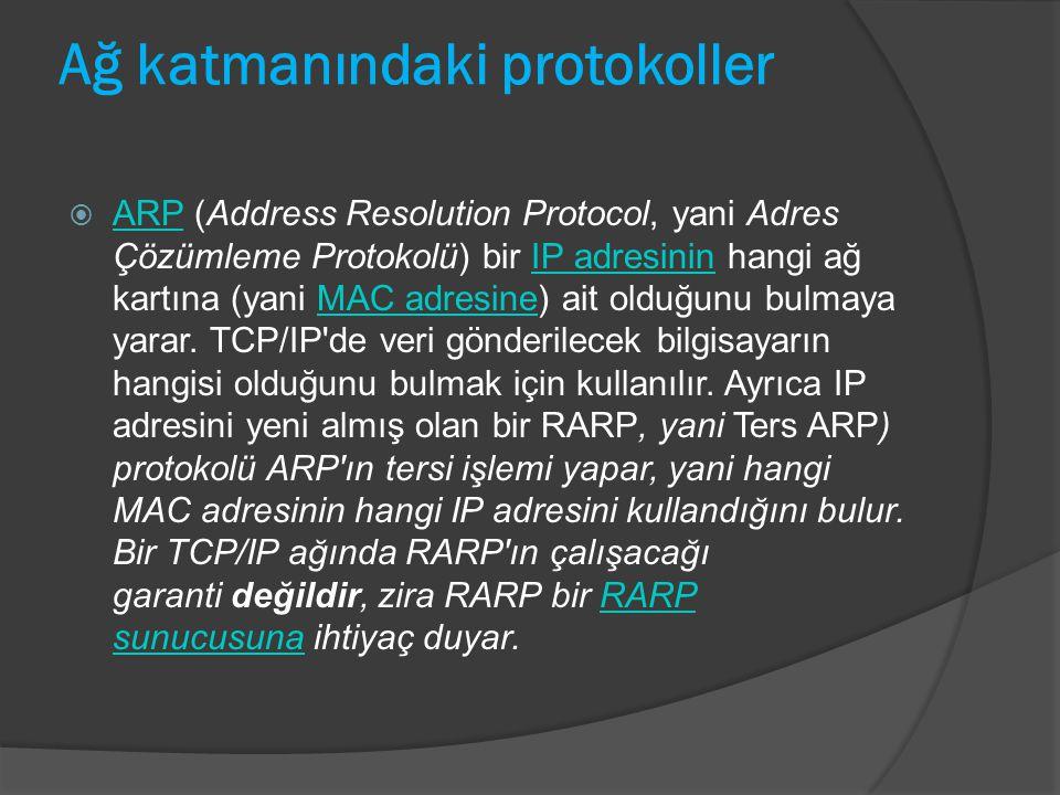 Ağ katmanındaki protokoller  ARP (Address Resolution Protocol, yani Adres Çözümleme Protokolü) bir IP adresinin hangi ağ kartına (yani MAC adresine)