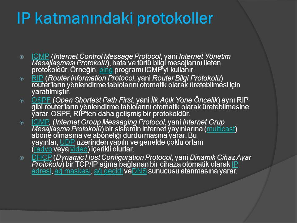 IP katmanındaki protokoller  ICMP (Internet Control Message Protocol, yani Internet Yönetim Mesajlaşması Protokolü), hata ve türlü bilgi mesajlarını