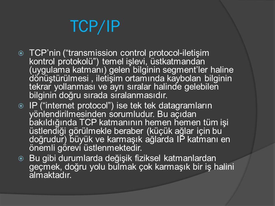"""TCP/IP  TCP'nin (""""transmission control protocol-iletişim kontrol protokolü"""") temel işlevi, üstkatmandan (uygulama katmanı) gelen bilginin segment'ler"""