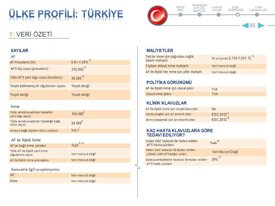 2: EPİDEMİYOLOJ İ AF İNME 00 AF'li kişi sayısı 310,000 12 Serebrovasküler hastalıkla yaşayan toplam kişi sayısı (prevalans) 154,911 2 Prevalans oranı (%) 0.8 17 -%1.25 12 Yılda, serebrovasküler hastalığa yaklanan yeni olguların toplam sayısı Yaklaşık 3500 erişkini kapsayan kesitsel, geleceğe yönelik bir çalışma olan Türkiye'de Kardiyak Hastalıklar ve Risk Faktörleri (TEKHARF) çalışması %1.25'lik bir AF prevalans oranı ve 1000 kişi yılında 1.35'lik bir insidans oranı saptamıştır [12 ].