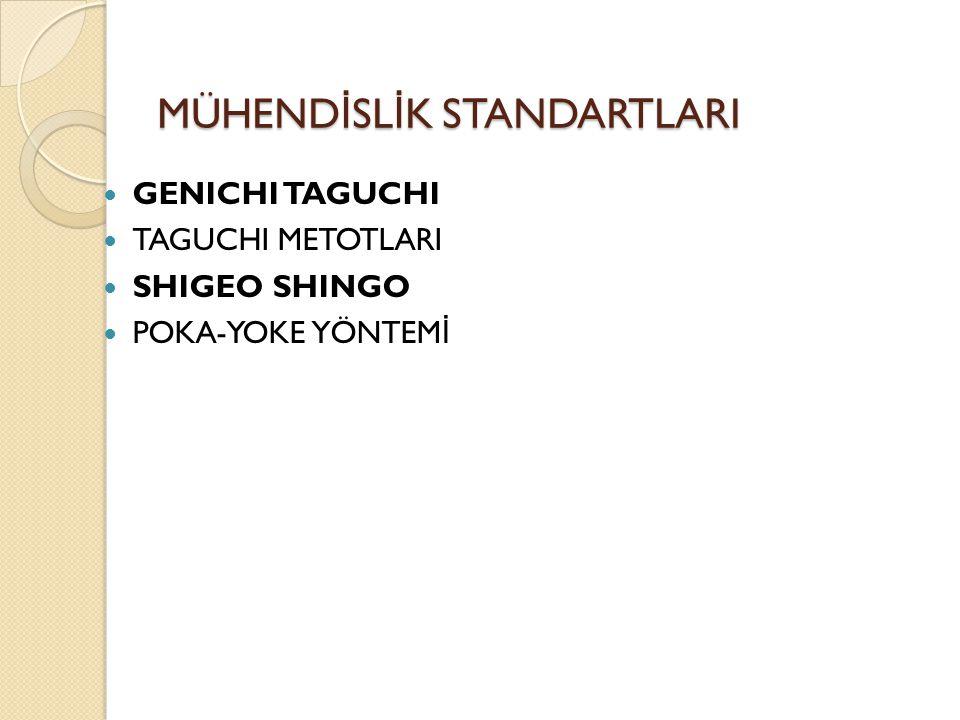 GENICHI TAGUCHI TAGUCHI METOTLARI SHIGEO SHINGO POKA-YOKE YÖNTEM İ MÜHEND İ SL İ K STANDARTLARI