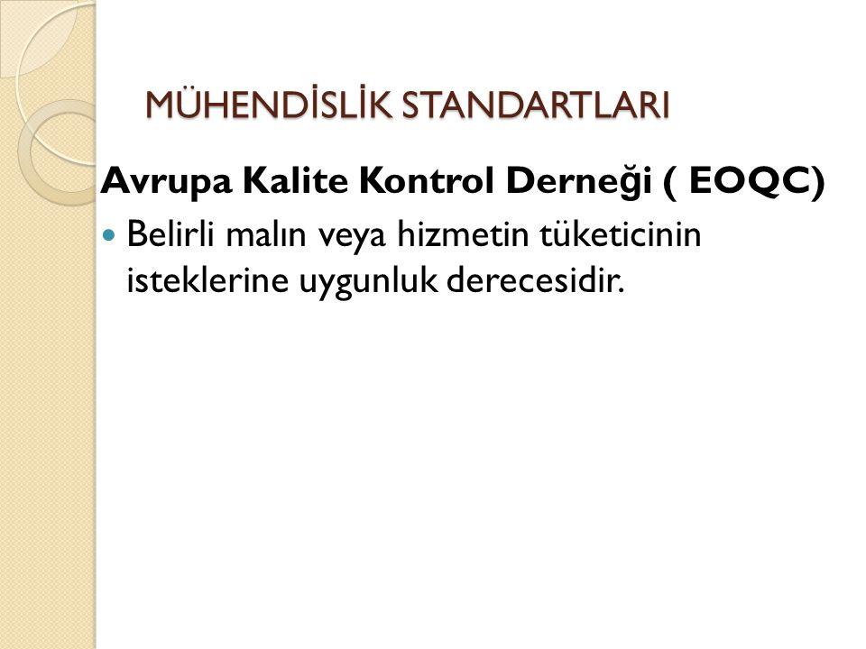 MÜHEND İ SL İ K STANDARTLARI Avrupa Kalite Kontrol Derne ğ i ( EOQC) Belirli malın veya hizmetin tüketicinin isteklerine uygunluk derecesidir.