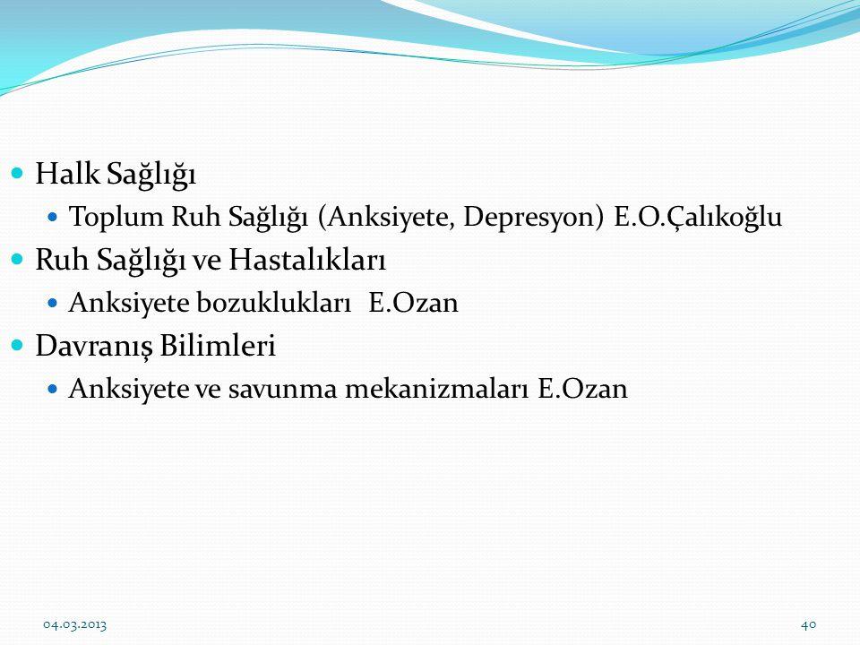 Halk Sağlığı Toplum Ruh Sağlığı (Anksiyete, Depresyon) E.O.Çalıkoğlu Ruh Sağlığı ve Hastalıkları Anksiyete bozuklukları E.Ozan Davranış Bilimleri Anks