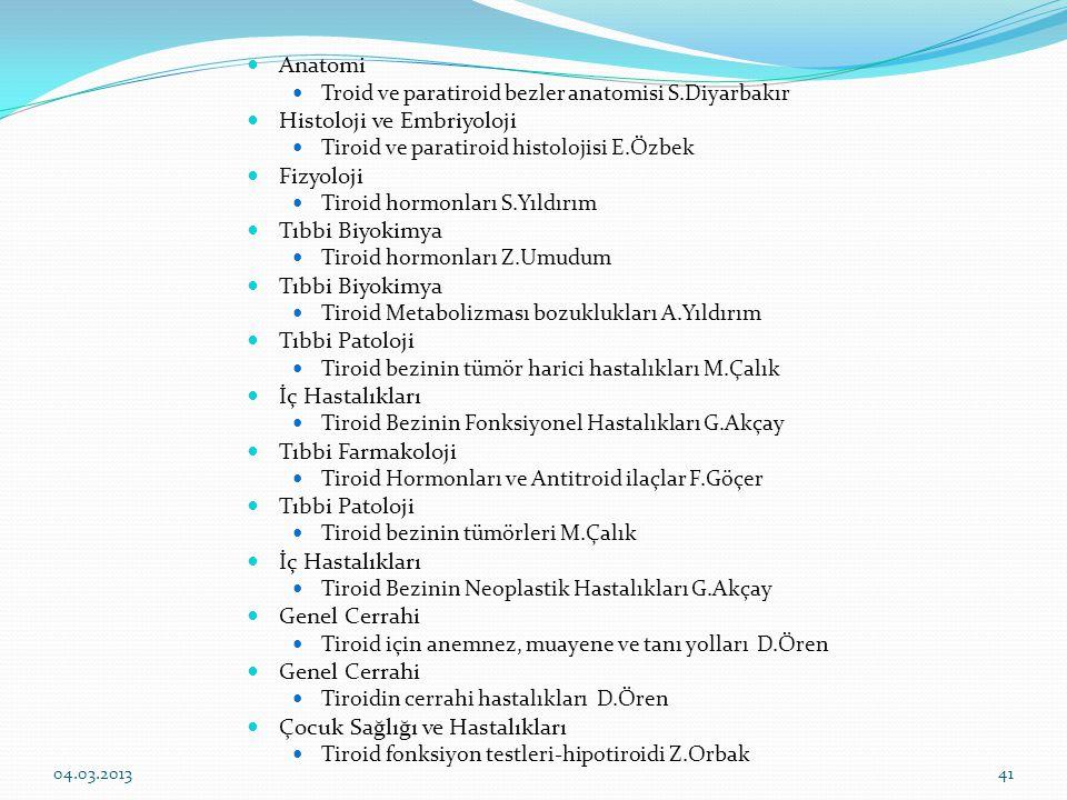 Anatomi Troid ve paratiroid bezler anatomisi S.Diyarbakır Histoloji ve Embriyoloji Tiroid ve paratiroid histolojisi E.Özbek Fizyoloji Tiroid hormonları S.Yıldırım Tıbbi Biyokimya Tiroid hormonları Z.Umudum Tıbbi Biyokimya Tiroid Metabolizması bozuklukları A.Yıldırım Tıbbi Patoloji Tiroid bezinin tümör harici hastalıkları M.Çalık İç Hastalıkları Tiroid Bezinin Fonksiyonel Hastalıkları G.Akçay Tıbbi Farmakoloji Tiroid Hormonları ve Antitroid ilaçlar F.Göçer Tıbbi Patoloji Tiroid bezinin tümörleri M.Çalık İç Hastalıkları Tiroid Bezinin Neoplastik Hastalıkları G.Akçay Genel Cerrahi Tiroid için anemnez, muayene ve tanı yolları D.Ören Genel Cerrahi Tiroidin cerrahi hastalıkları D.Ören Çocuk Sağlığı ve Hastalıkları Tiroid fonksiyon testleri-hipotiroidi Z.Orbak 04.03.201341