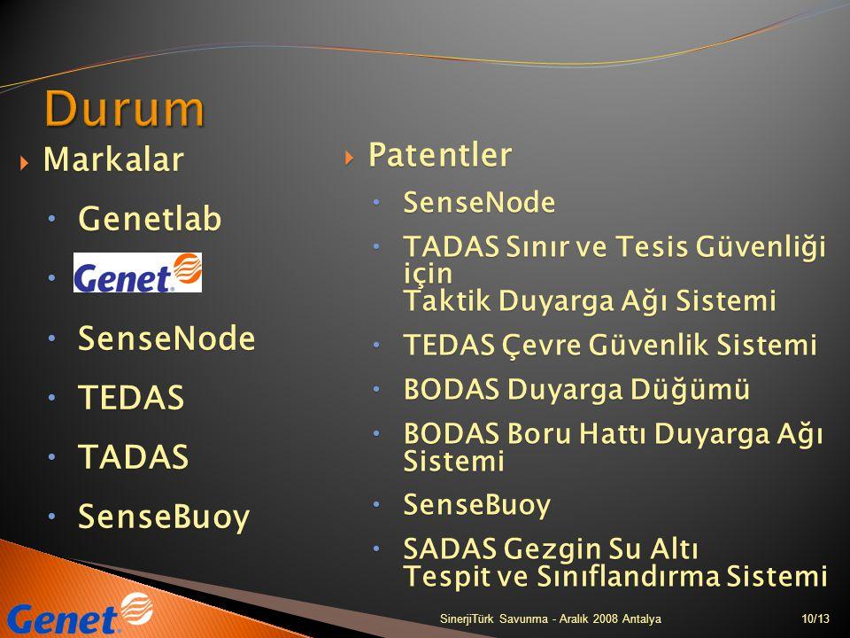 10/13SinerjiTürk Savunma - Aralık 2008 Antalya  Markalar  Genetlab   SenseNode  TEDAS  TADAS  SenseBuoy  Patentler  SenseNode  TADAS Sınır v