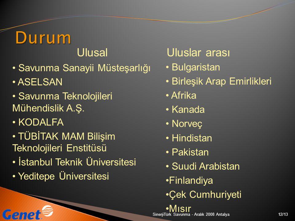 12/13SinerjiTürk Savunma - Aralık 2008 Antalya Savunma Sanayii Müsteşarlığı ASELSAN Savunma Teknolojileri Mühendislik A.Ş. KODALFA TÜBİTAK MAM Bilişim