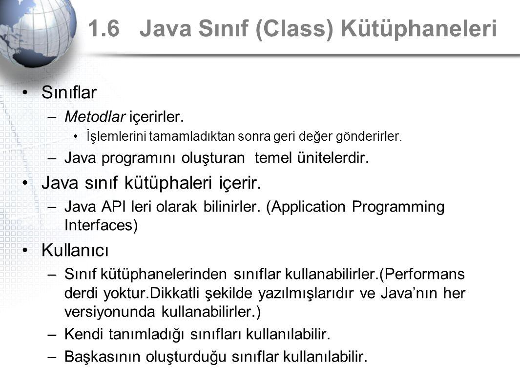 1.6 Java Sınıf (Class) Kütüphaneleri Sınıflar –Metodlar içerirler. İşlemlerini tamamladıktan sonra geri değer gönderirler. –Java programını oluşturan