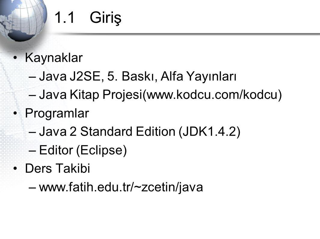 1.1 Giriş Kaynaklar –Java J2SE, 5. Baskı, Alfa Yayınları –Java Kitap Projesi(www.kodcu.com/kodcu) Programlar –Java 2 Standard Edition (JDK1.4.2) –Edit
