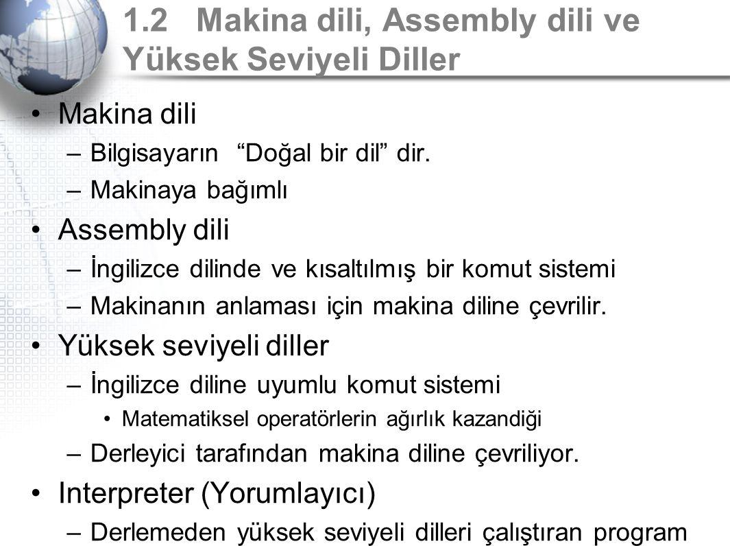 """1.2 Makina dili, Assembly dili ve Yüksek Seviyeli Diller Makina dili –Bilgisayarın """"Doğal bir dil"""" dir. –Makinaya bağımlı Assembly dili –İngilizce dil"""