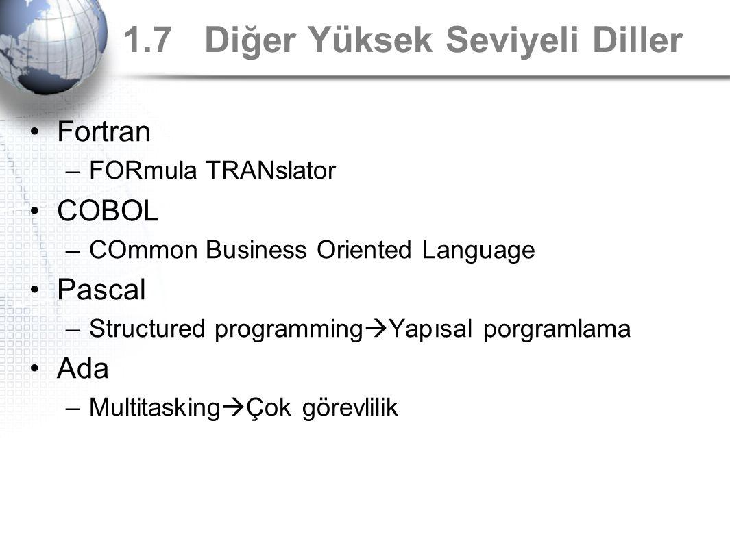 1.7 Diğer Yüksek Seviyeli Diller Fortran –FORmula TRANslator COBOL –COmmon Business Oriented Language Pascal –Structured programming  Yapısal porgram