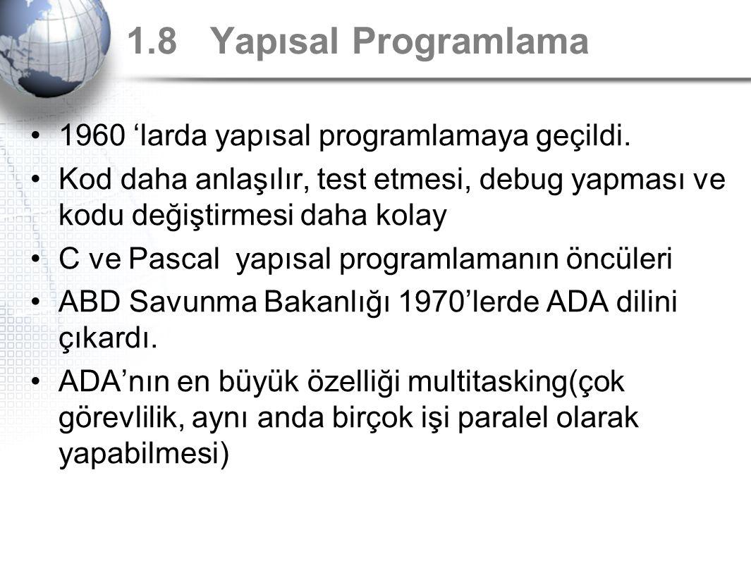 1.8 Yapısal Programlama 1960 'larda yapısal programlamaya geçildi. Kod daha anlaşılır, test etmesi, debug yapması ve kodu değiştirmesi daha kolay C ve