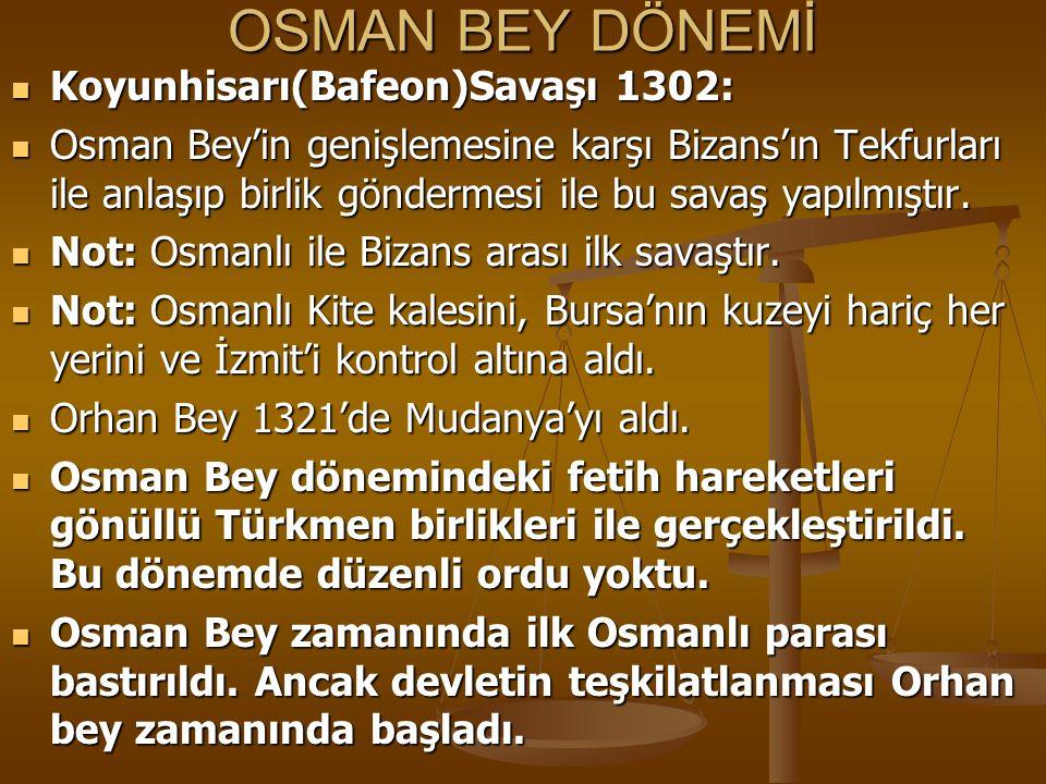 OSMAN BEY DÖNEMİ Koyunhisarı(Bafeon)Savaşı 1302: Koyunhisarı(Bafeon)Savaşı 1302: Osman Bey'in genişlemesine karşı Bizans'ın Tekfurları ile anlaşıp bir