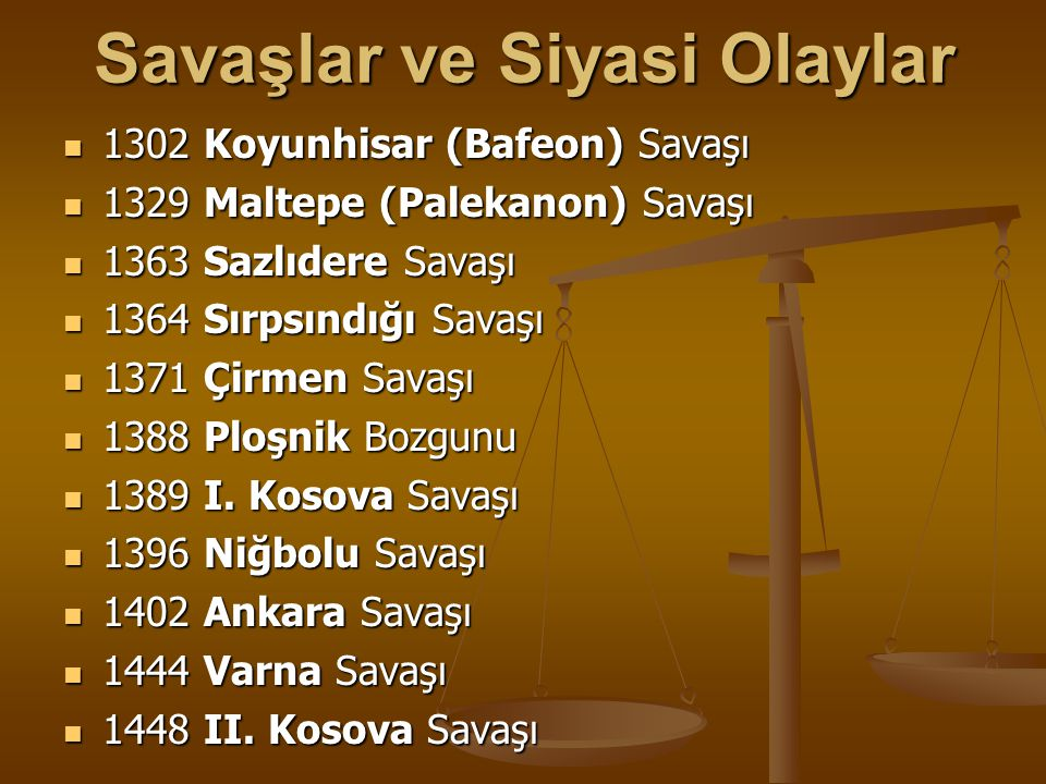 OSMAN BEY DÖNEMİ Koyunhisarı(Bafeon)Savaşı 1302: Koyunhisarı(Bafeon)Savaşı 1302: Osman Bey'in genişlemesine karşı Bizans'ın Tekfurları ile anlaşıp birlik göndermesi ile bu savaş yapılmıştır.