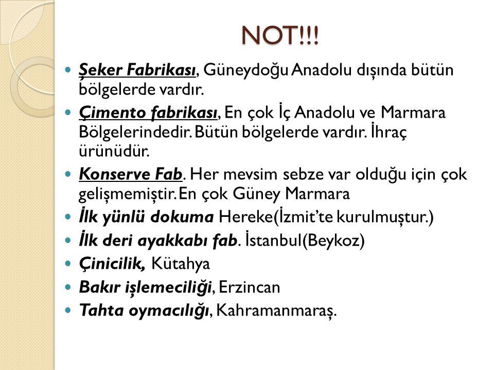 NOT!!! Şeker Fabrikası, Güneydo ğ u Anadolu dışında bütün bölgelerde vardır. Çimento fabrikası, En çok İ ç Anadolu ve Marmara Bölgelerindedir. Bütün b