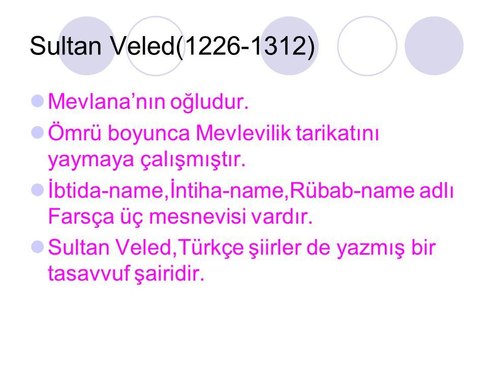 Sultan Veled(1226-1312) Mevlana'nın oğludur. Ömrü boyunca Mevlevilik tarikatını yaymaya çalışmıştır. İbtida-name,İntiha-name,Rübab-name adlı Farsça üç