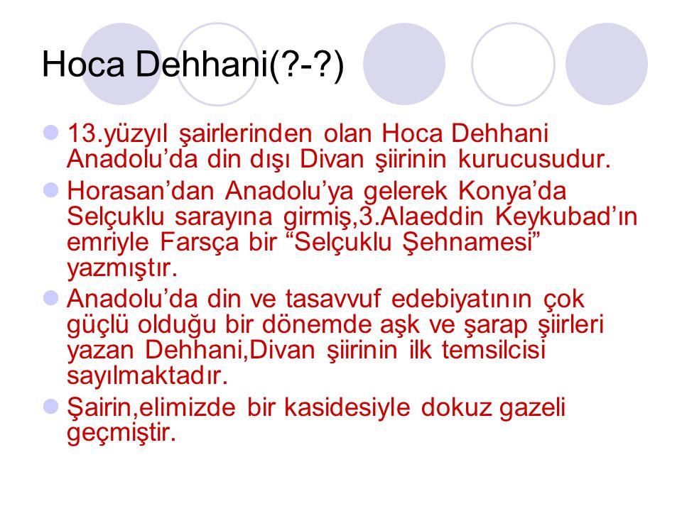 Hoca Dehhani(?-?) 13.yüzyıl şairlerinden olan Hoca Dehhani Anadolu'da din dışı Divan şiirinin kurucusudur. Horasan'dan Anadolu'ya gelerek Konya'da Sel
