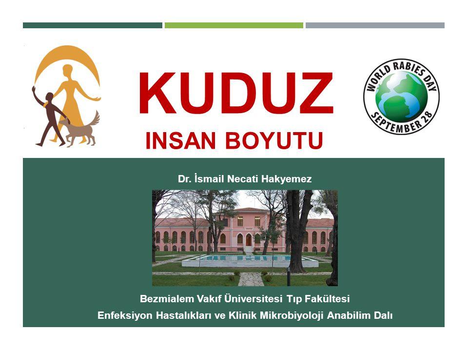 Dr. İsmail Necati Hakyemez Bezmialem Vakıf Üniversitesi Tıp Fakültesi Enfeksiyon Hastalıkları ve Klinik Mikrobiyoloji Anabilim Dalı KUDUZ INSAN BOYUTU