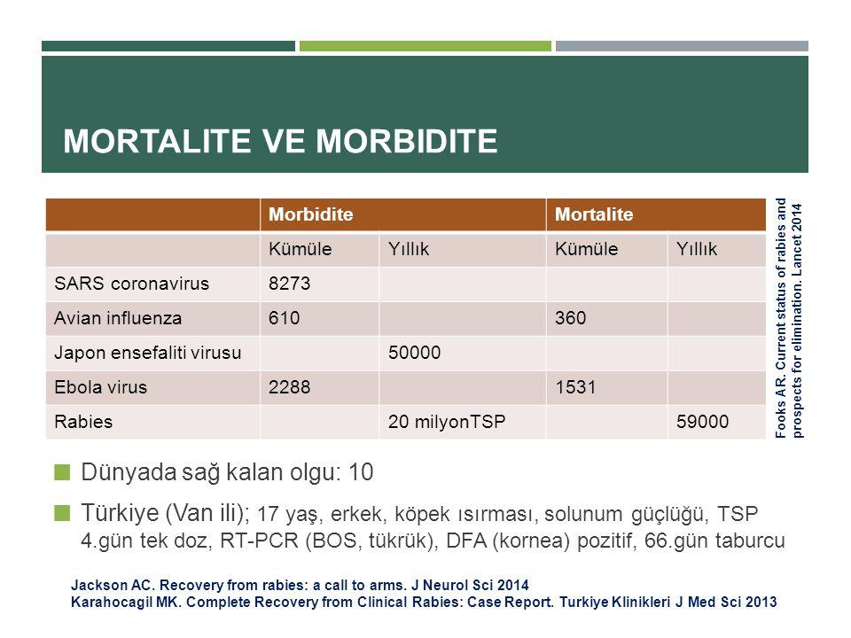 MORTALITE VE MORBIDITE Dünyada sağ kalan olgu: 10 Türkiye (Van ili); 17 yaş, erkek, köpek ısırması, solunum güçlüğü, TSP 4.gün tek doz, RT-PCR (BOS, tükrük), DFA (kornea) pozitif, 66.gün taburcu Fooks AR.