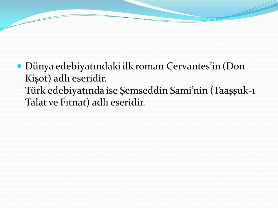 Dünya edebiyatındaki ilk roman Cervantes'in (Don Kişot) adlı eseridir. Türk edebiyatında ise Şemseddin Sami'nin (Taaşşuk-ı Talat ve Fıtnat) adlı eseri