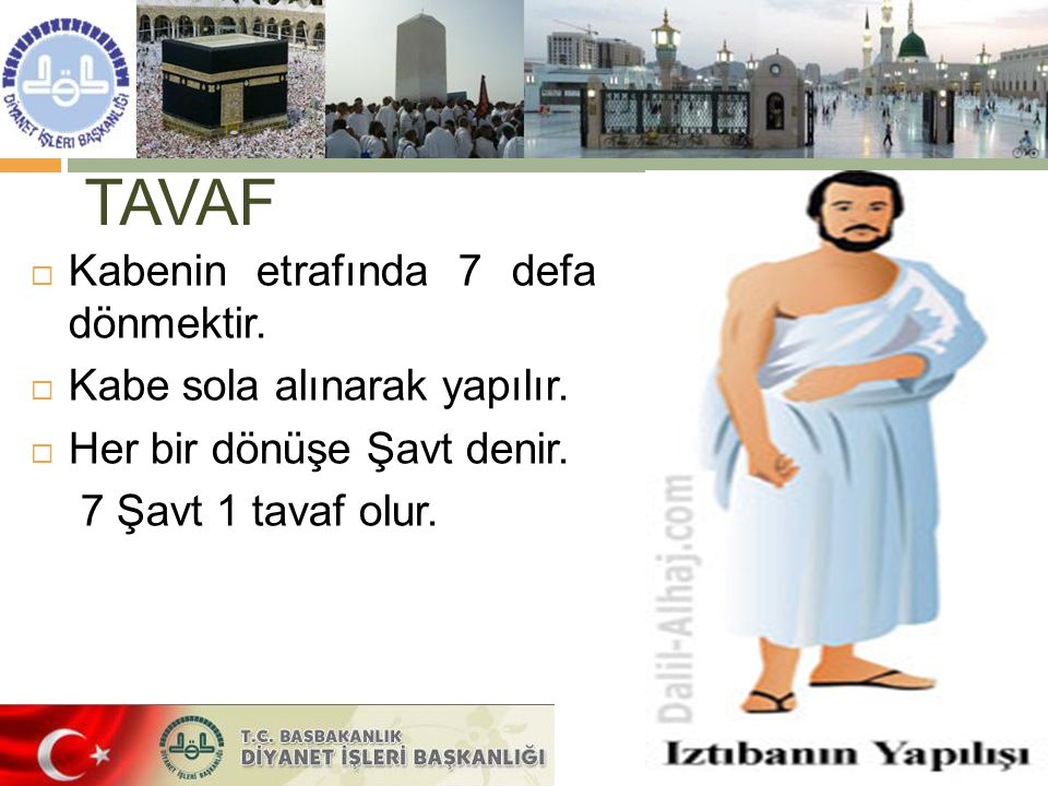 TAVAF  Kabenin etrafında 7 defa dönmektir. Kabe sola alınarak yapılır.