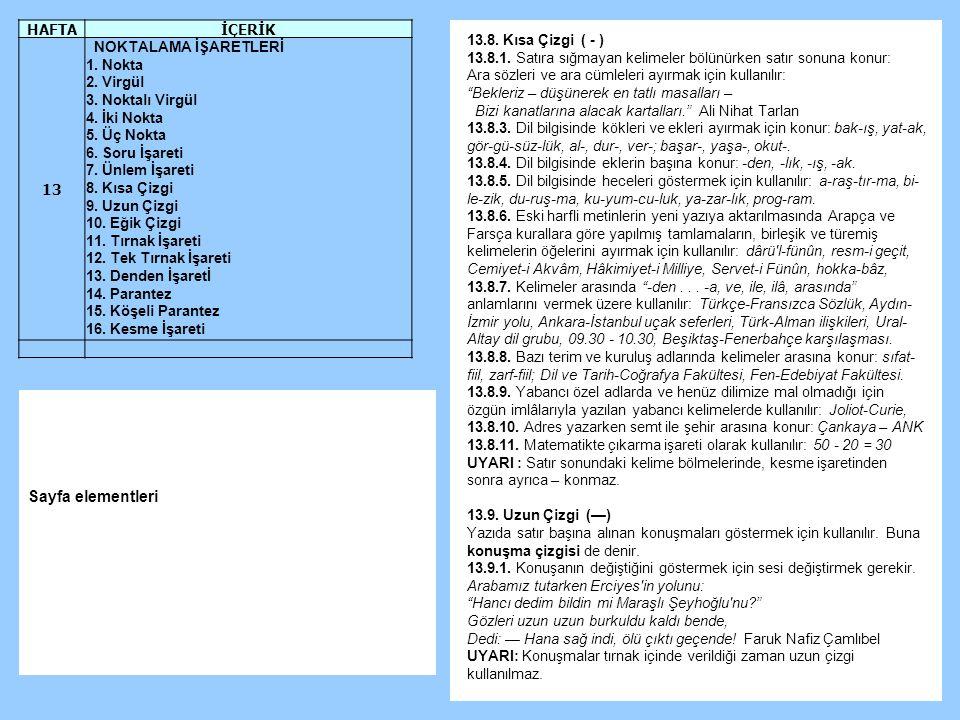 13.8.Kısa Çizgi ( - ) 13.8.1.