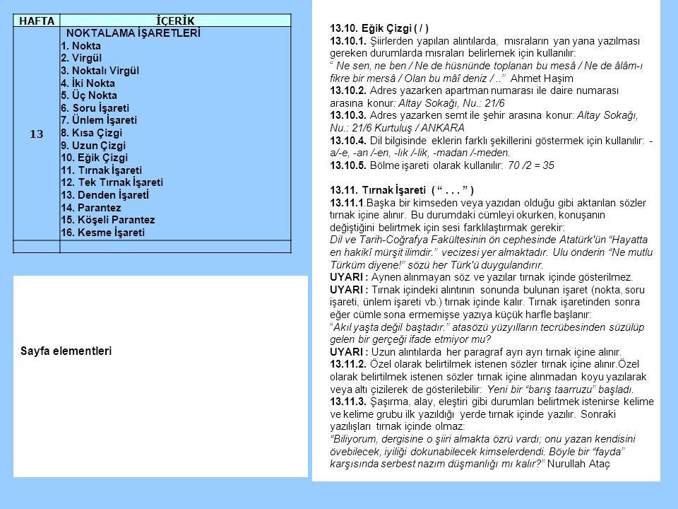 13.10.Eğik Çizgi ( / ) 13.10.1.
