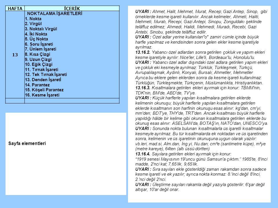 UYARI : Ahmet, Halit, Mehmet, Murat, Recep; Gazi Antep, Sinop, gibi örneklerde kesme işareti kullanılır.