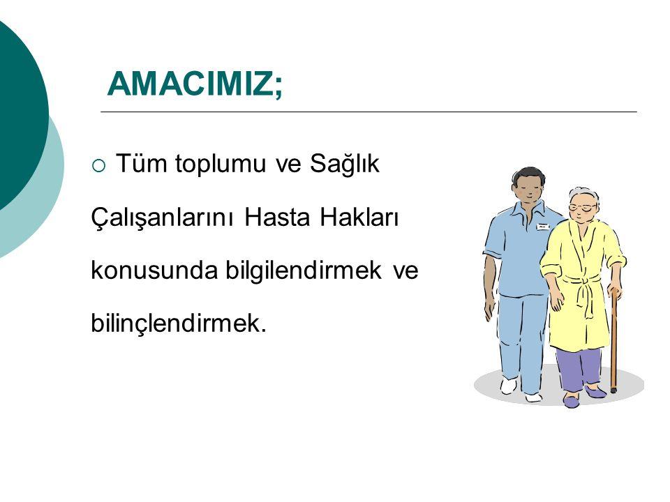 AMACIMIZ;  Tüm toplumu ve Sağlık Çalışanlarını Hasta Hakları konusunda bilgilendirmek ve bilinçlendirmek.