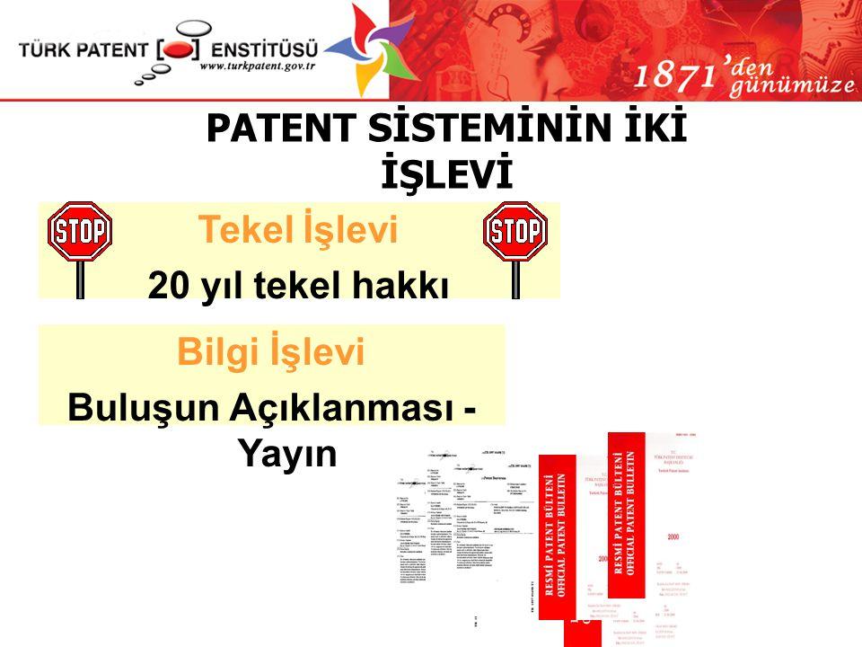 Patent; buluş sahibine buluşu kullanma yönünde 20 yıllık bir tekel hakkı vererek, fikri yaratmayı ödüllendirmekte ve yeniliklere basamak oluşturmaktad