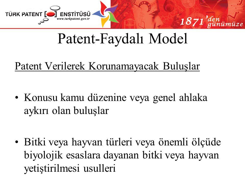 Patent-Faydalı Model Buluş Olarak Kabul Edilmeyen Konular Keşifler, bilimsel teoriler, matematik metotları; Zihni, ticari ve oyun faaliyetlerine ilişk