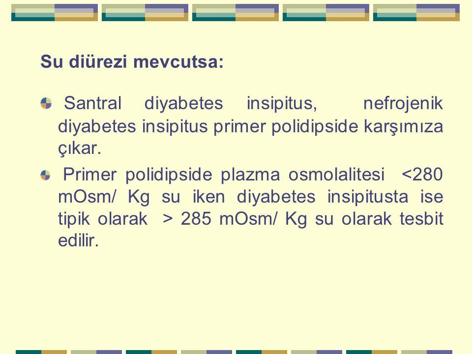 Su diürezi mevcutsa: Santral diyabetes insipitus, nefrojenik diyabetes insipitus primer polidipside karşımıza çıkar. Primer polidipside plazma osmolal
