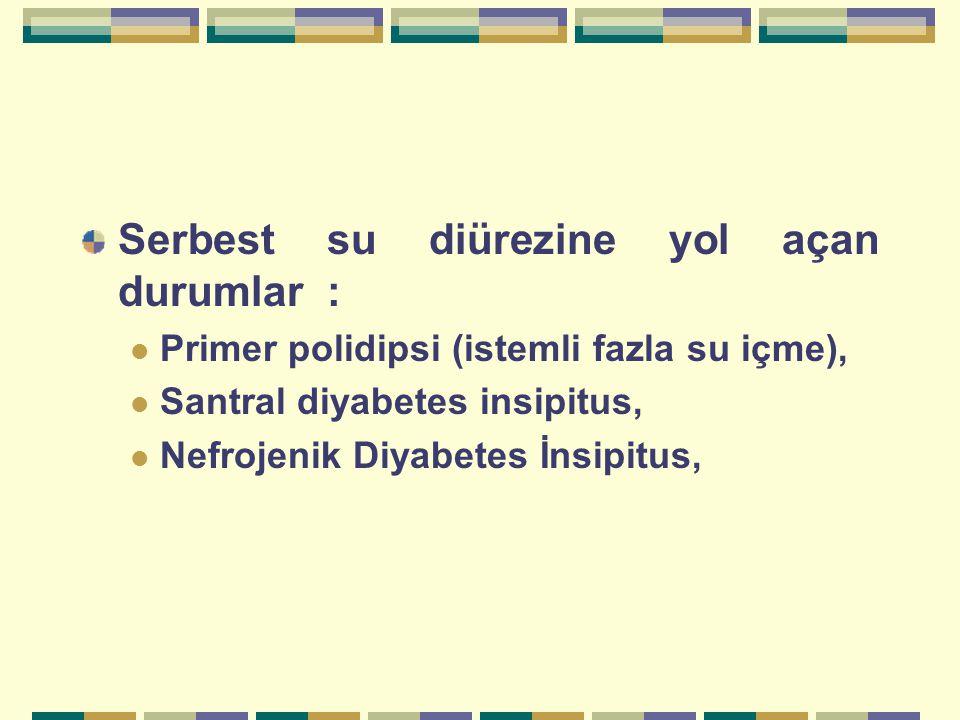 Serbest su diürezine yol açan durumlar : Primer polidipsi (istemli fazla su içme), Santral diyabetes insipitus, Nefrojenik Diyabetes İnsipitus,