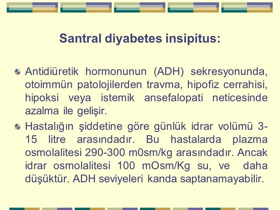 Santral diyabetes insipitus: Antidiüretik hormonunun (ADH) sekresyonunda, otoimmün patolojilerden travma, hipofiz cerrahisi, hipoksi veya istemik anse