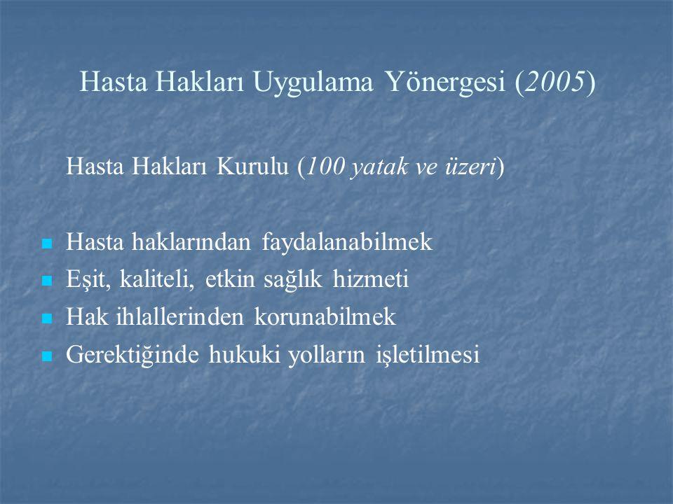 Hasta Hakları Uygulama Yönergesi (2005) Hasta Hakları Kurulu (100 yatak ve üzeri) Hasta haklarından faydalanabilmek Eşit, kaliteli, etkin sağlık hizmeti Hak ihlallerinden korunabilmek Gerektiğinde hukuki yolların işletilmesi