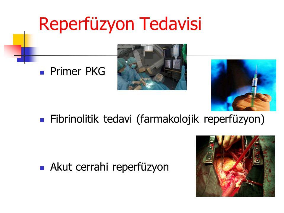Reperfüzyon Tedavisi Primer PKG Fibrinolitik tedavi (farmakolojik reperfüzyon) Akut cerrahi reperfüzyon