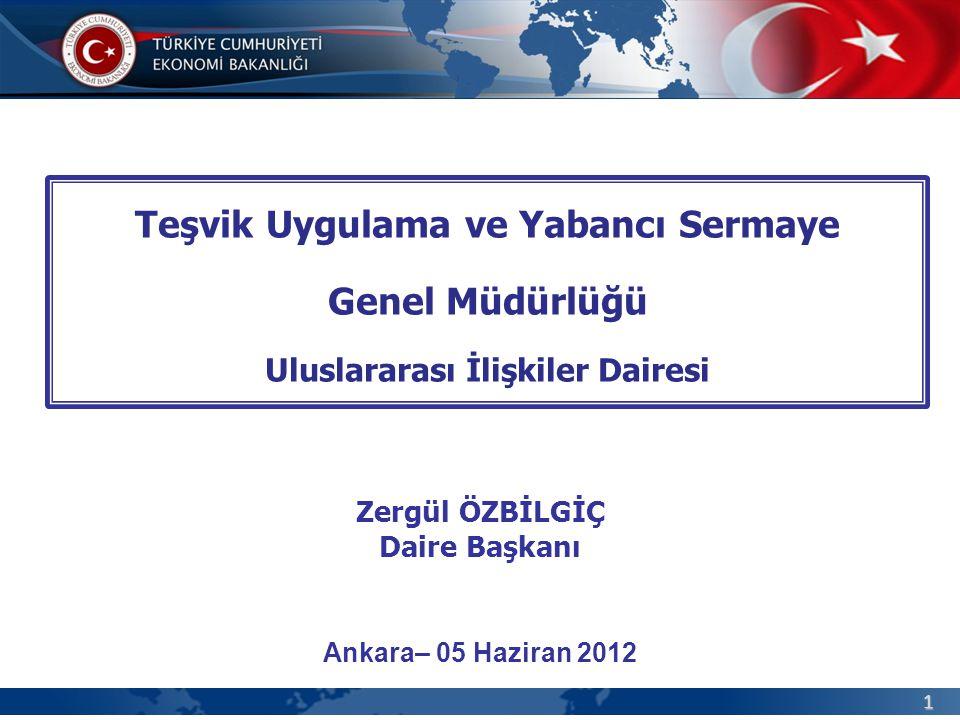 1 Teşvik Uygulama ve Yabancı Sermaye Genel Müdürlüğü Uluslararası İlişkiler Dairesi Ankara– 05 Haziran 2012 Zergül ÖZBİLGİÇ Daire Başkanı