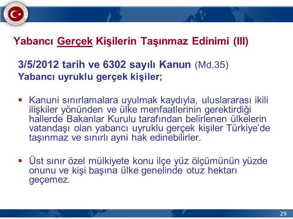 29 Yabancı Gerçek Kişilerin Taşınmaz Edinimi (III) 3/5/2012 tarih ve 6302 sayılı Kanun (Md.35) Yabancı uyruklu gerçek kişiler;  Kanuni sınırlamalara uyulmak kaydıyla, uluslararası ikili ilişkiler yönünden ve ülke menfaatlerinin gerektirdiği hallerde Bakanlar Kurulu tarafından belirlenen ülkelerin vatandaşı olan yabancı uyruklu gerçek kişiler Türkiye'de taşınmaz ve sınırlı ayni hak edinebilirler.