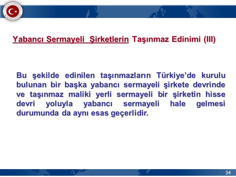34 Bu şekilde edinilen taşınmazların Türkiye'de kurulu bulunan bir başka yabancı sermayeli şirkete devrinde ve taşınmaz maliki yerli sermayeli bir şirketin hisse devri yoluyla yabancı sermayeli hale gelmesi durumunda da aynı esas geçerlidir.