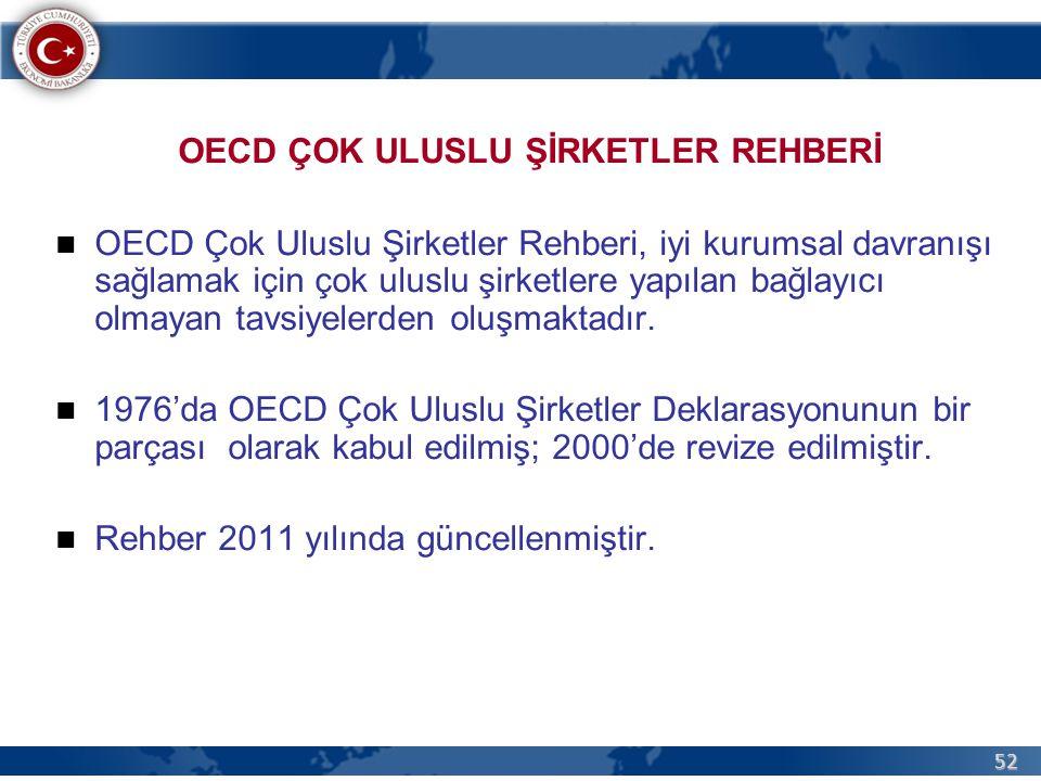 52 OECD ÇOK ULUSLU ŞİRKETLER REHBERİ OECD Çok Uluslu Şirketler Rehberi, iyi kurumsal davranışı sağlamak için çok uluslu şirketlere yapılan bağlayıcı olmayan tavsiyelerden oluşmaktadır.