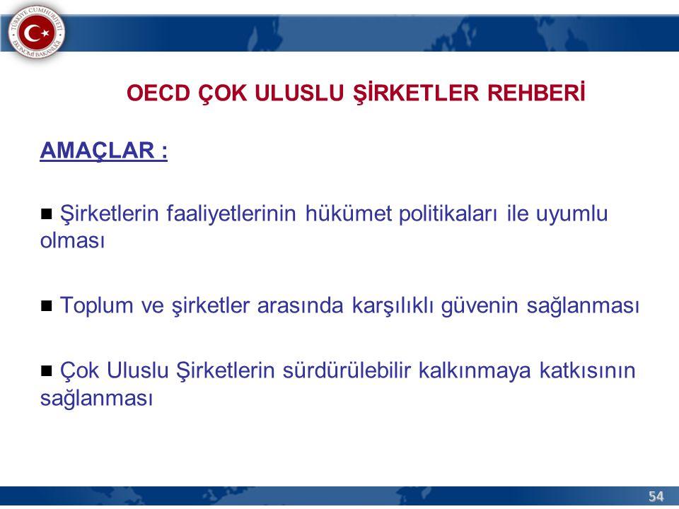 54 OECD ÇOK ULUSLU ŞİRKETLER REHBERİ AMAÇLAR : Şirketlerin faaliyetlerinin hükümet politikaları ile uyumlu olması Toplum ve şirketler arasında karşılıklı güvenin sağlanması Çok Uluslu Şirketlerin sürdürülebilir kalkınmaya katkısının sağlanması
