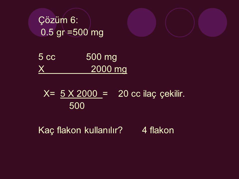 Çözüm 6: 0.5 gr =500 mg 5 cc 500 mg X 2000 mg X= 5 X 2000 = 20 cc ilaç çekilir. 500 Kaç flakon kullanılır? 4 flakon