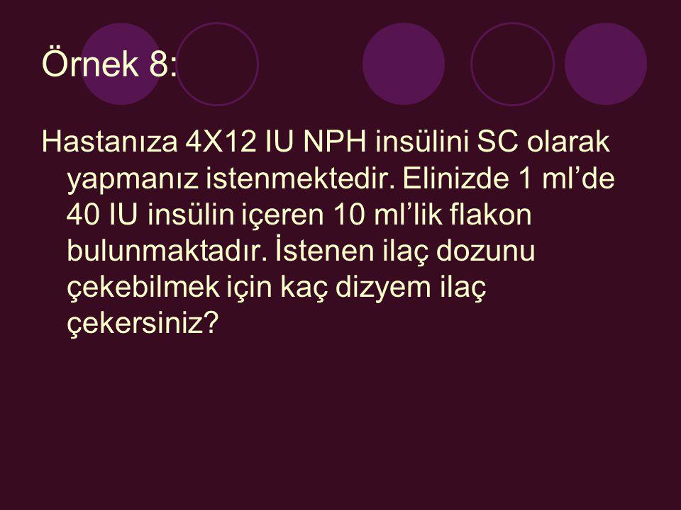 Örnek 8: Hastanıza 4X12 IU NPH insülini SC olarak yapmanız istenmektedir. Elinizde 1 ml'de 40 IU insülin içeren 10 ml'lik flakon bulunmaktadır. İstene