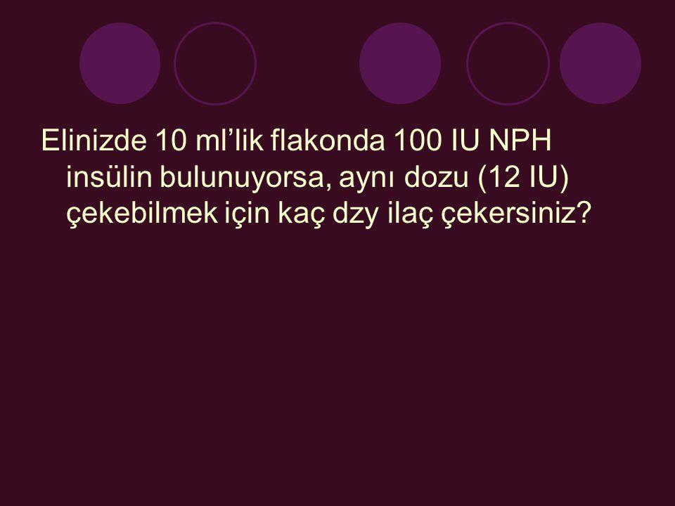Elinizde 10 ml'lik flakonda 100 IU NPH insülin bulunuyorsa, aynı dozu (12 IU) çekebilmek için kaç dzy ilaç çekersiniz?