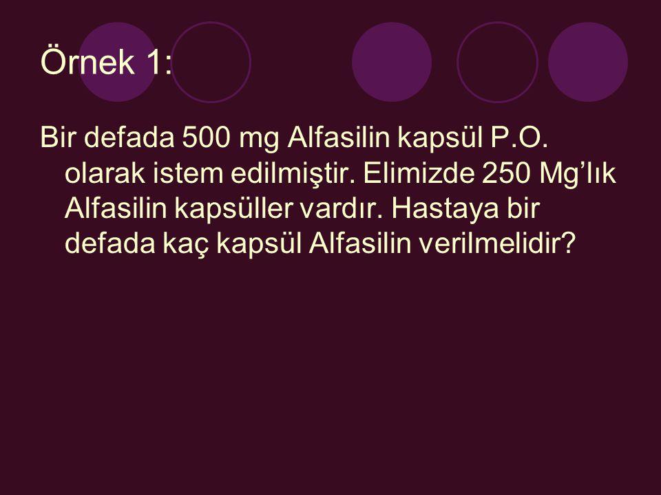 Örnek 1: Bir defada 500 mg Alfasilin kapsül P.O. olarak istem edilmiştir. Elimizde 250 Mg'lık Alfasilin kapsüller vardır. Hastaya bir defada kaç kapsü