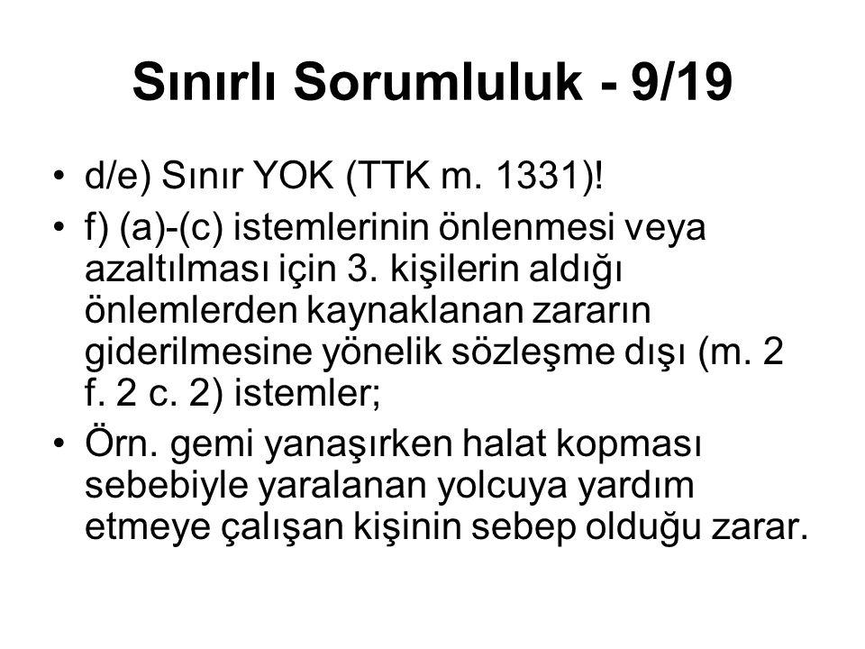 Sınırlı Sorumluluk - 9/19 d/e) Sınır YOK (TTK m. 1331)! f) (a)-(c) istemlerinin önlenmesi veya azaltılması için 3. kişilerin aldığı önlemlerden kaynak