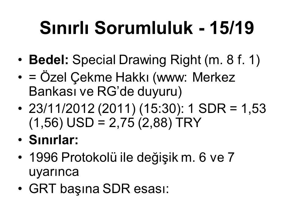Sınırlı Sorumluluk - 15/19 Bedel: Special Drawing Right (m. 8 f. 1) = Özel Çekme Hakkı (www: Merkez Bankası ve RG'de duyuru) 23/11/2012 (2011) (15:30)