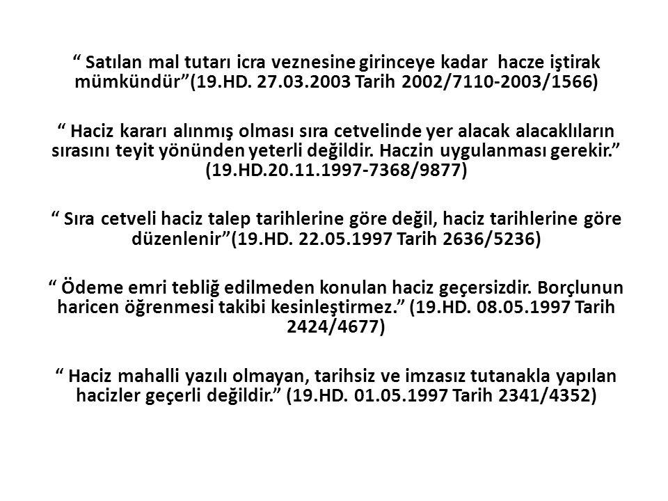 """"""" Satılan mal tutarı icra veznesine girinceye kadar hacze iştirak mümkündür""""(19.HD. 27.03.2003 Tarih 2002/7110-2003/1566) """" Haciz kararı alınmış olmas"""
