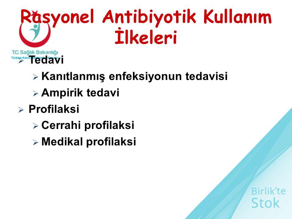 Rasyonel Antibiyotik Kullanım İlkeleri  Tedavi  Kanıtlanmış enfeksiyonun tedavisi  Ampirik tedavi  Profilaksi  Cerrahi profilaksi  Medikal profi