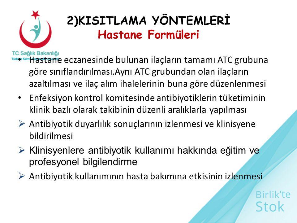 2)KISITLAMA YÖNTEMLERİ Hastane Formüleri Hastane eczanesinde bulunan ilaçların tamamı ATC grubuna göre sınıflandırılması.Aynı ATC grubundan olan ilaçl